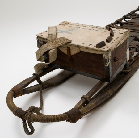 Mawson's sledge from the 1911-1914 expedition showing the box on which the Nansen cooker was placed