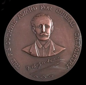 """Portrait of Frederick Bickel Guthrie on a bronze medal with the text """" the F.B.Guthrie Award for cereal chemistry"""""""