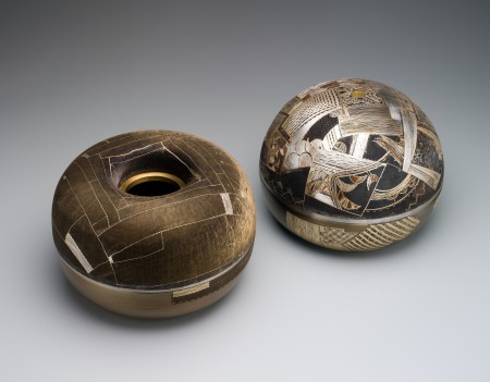 Bowl, oxidised steel/silver / gold / bronze / 'odong' in 'choum ibysa' technique, made by Joungmee Do