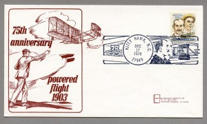 """Illustration with the Wright brother's plan text reads""""75th Anniversary - Powered flight 1903"""""""
