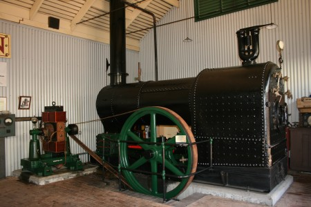 1888 power plant - John Fowler engine and boiler set with replica Crompton dynamo