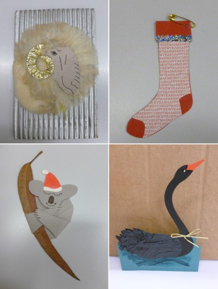 Collection of hand made collage Christmas cards