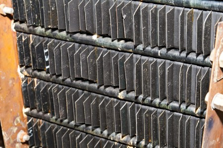 Close-up of the exterior of the vanadium battery cells