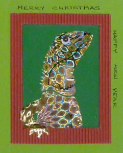 Collage Lizard Christmas card
