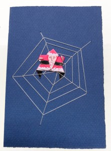 Santa stuck in a spider web collage Christmas card