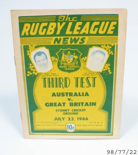 """Printed program of the Rugby League News text Thirds test Australia v. Great Britain Sydney Cricket ground July 23. 1966"""""""