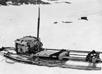 Black and white photograph of Mawson's cut down sledge used on his epic journey