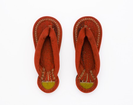 Bright orange Burmese sandals, maker unknown, late 19th century Collection