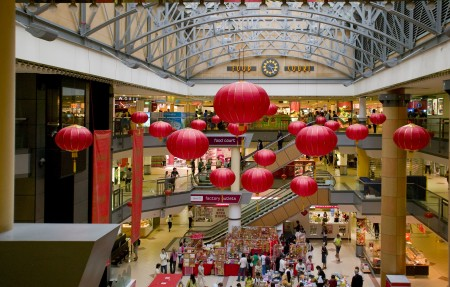 Red Lanterns hung in Market city shopping centre