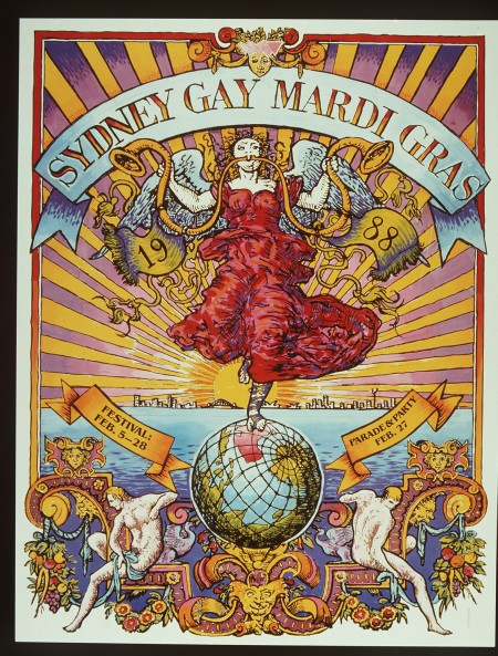 Bright and colorfully illustrated poster for the Sydney Gay Mardi Gras