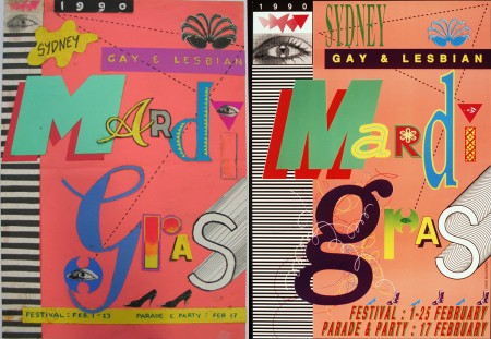 Concept collage for the 1990 Gay & Lesbian Mardi Gras