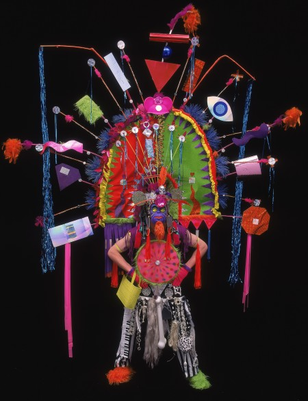 Sculptural colorful Mardi Gras Costume, large head piece with geometric objects bold colours
