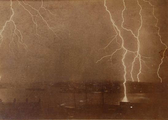 Lightning strikes on the Sydney Harbour, 7 December, 1892