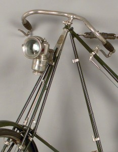 Close up of bicycle handlebars and light