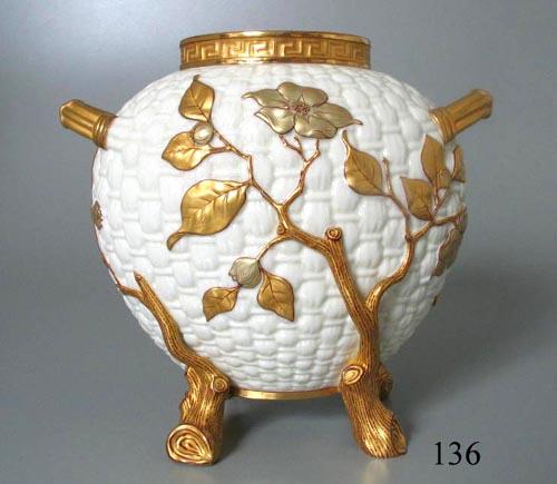 Vase, Worcester porcelain vase, basket finish, 1882