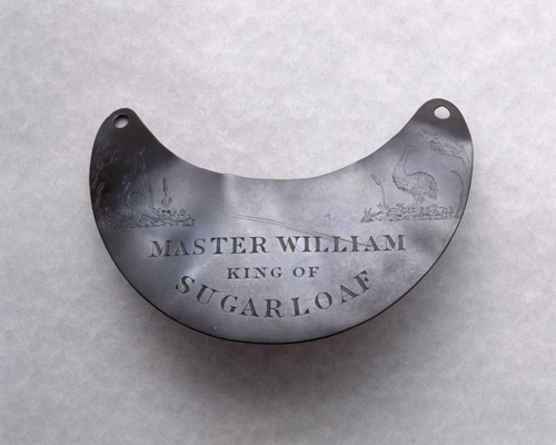 """Photograph of engraved breastplate, """"Master William King"""""""