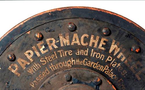 Papier-mache tram wheel, with steel & iron plates, 1890-1895