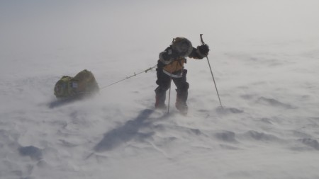 Blizzard in Antarctic expedition