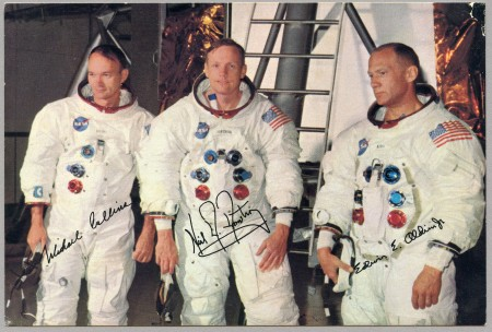 Detail of signed pro-forma card sent by NASA