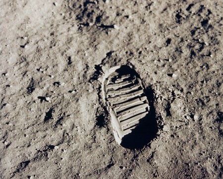 Detail of Armstrong lunar footstep