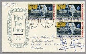 Neil Armstrong autograph obtained by Valerie Ross, during the Apollo 11 crew's visit to Sydney in November 1969
