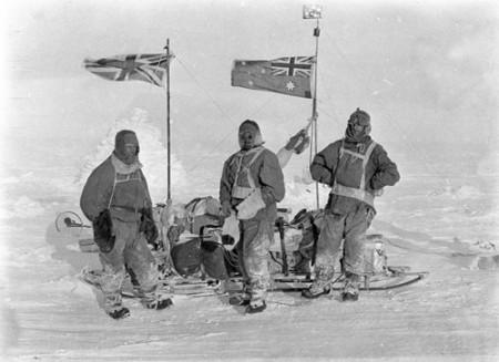 AAE expedition members, John Hunter, Herbert Murphy and Charles Laseron in their sledging Burberrys 1912