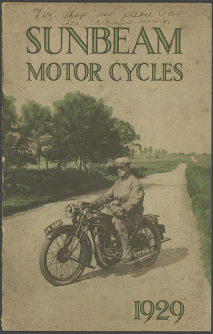 Sales catalogue for Sunbeam motorcycles, England, 1929