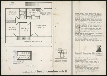 'Beachcomber mk II House' Lend Lease Homes brochure,1964