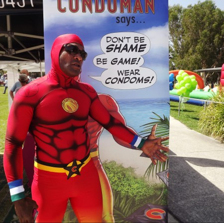 Jeremy Youse Condoman at Sun Shine Coast Pride Fair Day