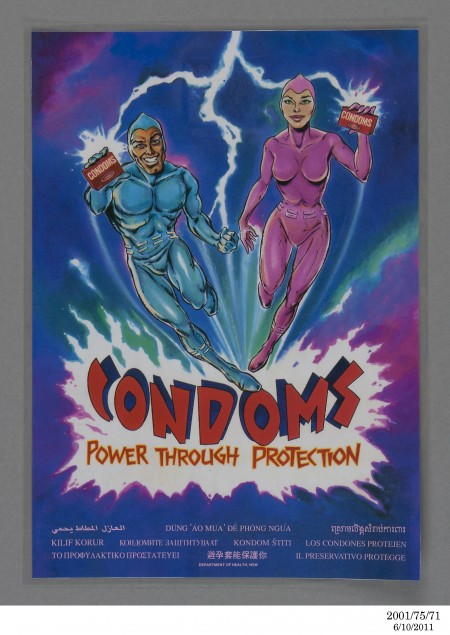 Poster, 'Condoms. Power through protection'