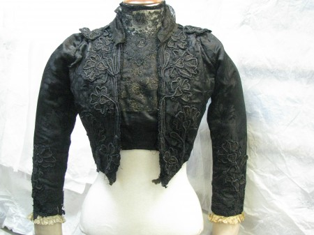 Front view of bodice and bolero jacket over-bodice in black cotton sateen