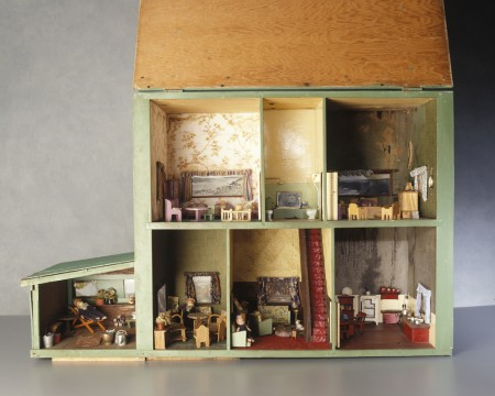 Dolls house with furniture and fittings