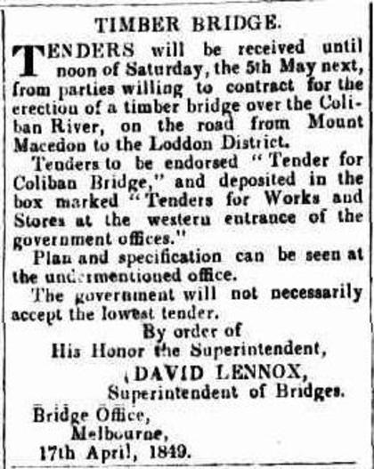 Advertisement for bridge building tender, 1849