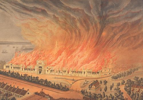 Garden Palace Fire 1882, lithograph