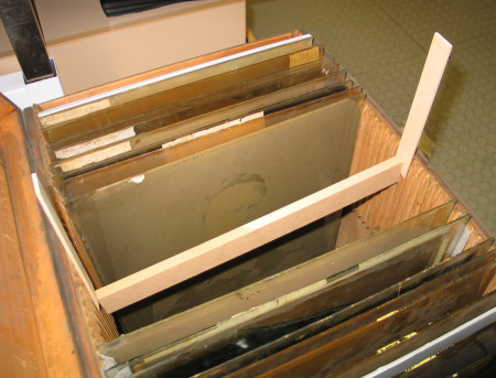Photograph of the original glass plate negative storage container