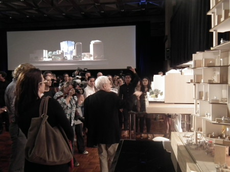 Photograph of Frank Gehry and models