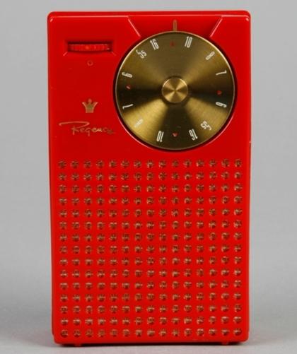 Photograph of Red Regency plastic transistor radio