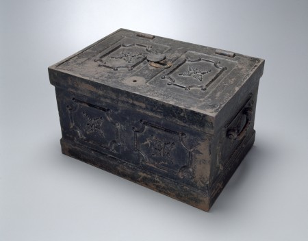 Photograph of Strong box from a Cobb and Co. coach, c. 1870