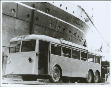 Photograph of Trolley bus No.1. on Sydney wharf