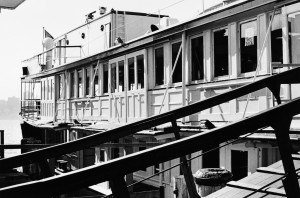 Photograph upper deck and loading ramp of the Many ferry, Baragoola