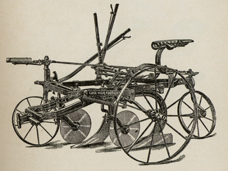 Drawing of Gang plough with a Case high foot lift