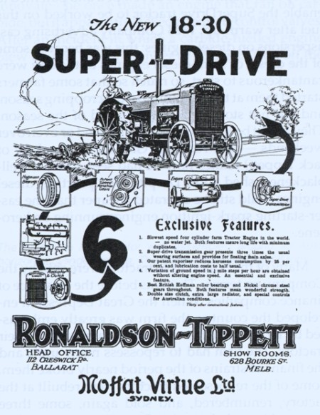 """Advertisement for an """"18-30 Super-Drive"""" tractor"""
