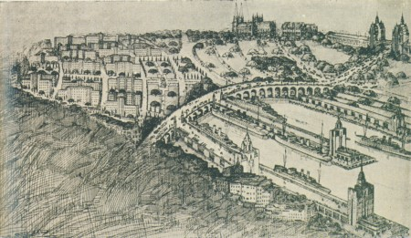 Drawing of 'View of beautification scheme for Woolloomooloo'