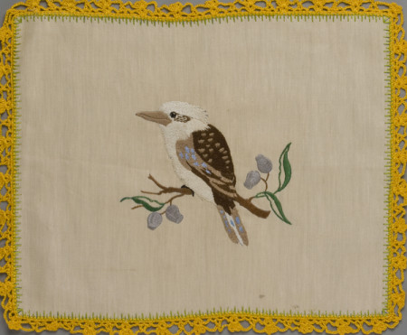 Photograph of tablemat embroidered with Kookaburra design