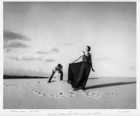 Photograph of Max Dupain photographing model on Cronulla Sandhills'