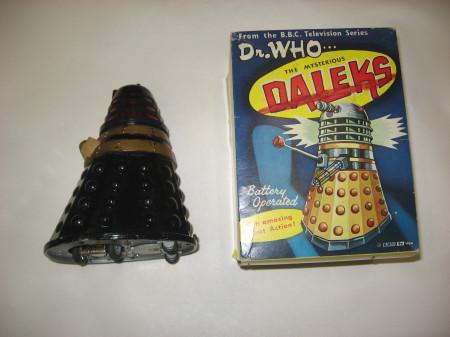 Photograph of original 1965 Louis Marx black Dalek toy