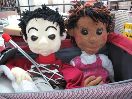 Photograph of Matthew and Melisa Camp Quality puppets