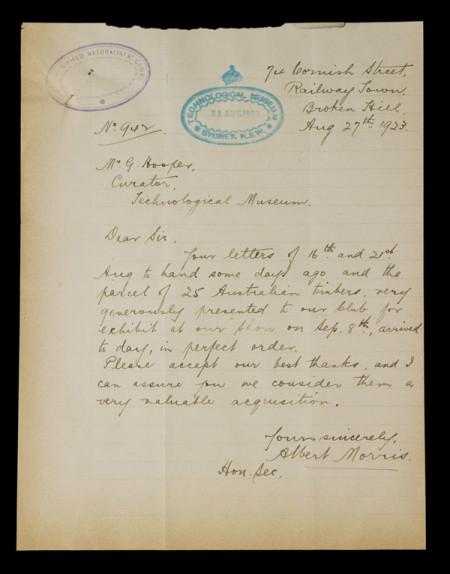 ARC/Bush/1 Letter from Albert Morris to Museum Curatot George Hooper, 27 August 1923