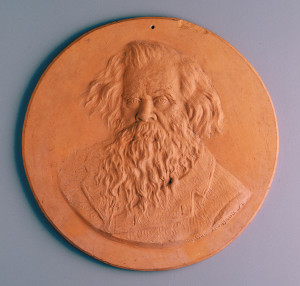 Photograph of Medallion plaque, bust of Sir Henry Parkes, terracotta, Nelson Illingworth, Sydney, New South Wales, Australia, c.1896