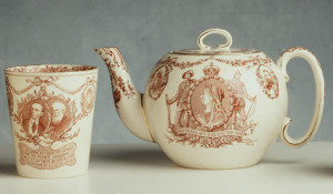 Photograph of Commemorative earthenware teapot made by Doulton & Co